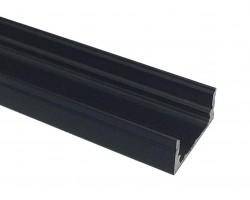 Perfil Superficie aluminio anodizado Negro 16x7mm para tiras LED, barra 2 Metros