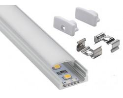 Perfil Aluminio Superficie ECO 17x7mm. para tiras LED, barra de 2 Metros -completo- (a 3,80€/m)