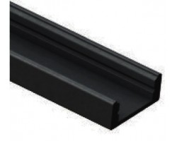 Perfil Aluminio Superficie Negro LINE 17,5x7mm. para tiras LED, barra de 2 Metros