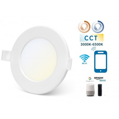 Downlight LED Redondo 115mm Blanco 6W SMART CCT WIFI, para Smartphone y control voz