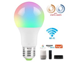 Lámpara LED Standard E27 9W RGB CCT Wifi, para Smartphone y control voz