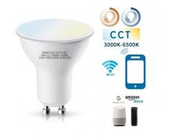 Lámpara LED GU10 SMD 5W SMART CCT Wifi, para Smartphone y control voz