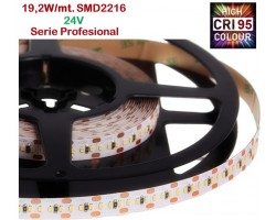 Tira LED 5 mts Flexible 24V 96W 1400 Led SMD 2216 IP20 Blanco Cálido, Serie Profesional IRC >95