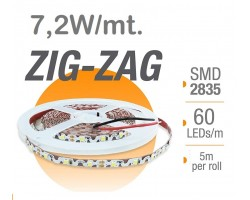 Tira LED 5 mts Flexible ZIG-ZAG 36W 300 Led SMD 2835 IP20 Blanco Cálido Serie Profesional