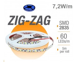 Tira LED 5 mts Flexible ZIG-ZAG 36W 300 Led SMD 2835 IP20 Azul Serie Profesional