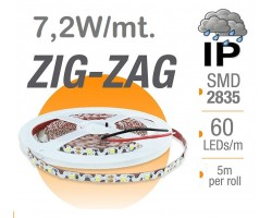 Tira LED 5 mts Flexible ZIG-ZAG 36W 300 Led SMD 2835 IP65 Blanco Cálido Serie Profesional
