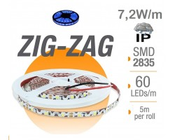 Tira LED 5 mts Flexible ZIG-ZAG 36W 300 Led SMD 2835 IP65 Azul Serie Profesional