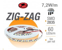 Tira LED 5 mts Flexible ZIG-ZAG 36W 300 Led SMD 2835 IP65 Rojo Serie Profesional