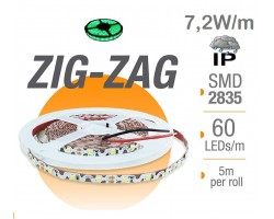 Tira LED 5 mts Flexible ZIG-ZAG 36W 300 Led SMD 2835 IP65 Verde Serie Profesional