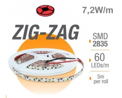 Tira LED 5 mts Flexible ZIG-ZAG 36W 300 Led SMD 2835 IP20 Rojo Serie Profesional