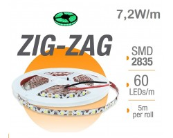 Tira LED 5 mts Flexible ZIG-ZAG 36W 300 Led SMD 2835 IP20 Verde Serie Profesional