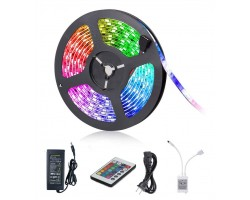 KIT Tira LED 5 mts Flexible 300 Led SMD 5050 IP20 RGB con alimentador y mando