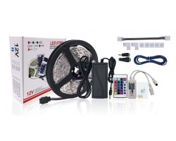 KIT Tira LED 5 mts Flexible 300 Led SMD 5050 IP20 RGB con control Wifi, alimentador y mando