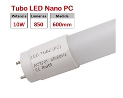 Tubo LED T8 600mm Nano PC Eco 10W, conexión 1 lado