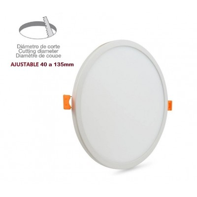 Downlight panel LED Redondo 174mm Blanco 12W, Corte ajustable 40 a 135mm