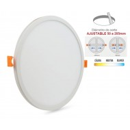 Downlight panel LED Redondo 225mm Blanco 20W, Corte ajustable 50 a 205mm