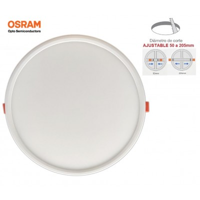 Downlight panel LED Redondo 230mm Blanco 20W, Corte ajustable 50 a 205mm, Serie PRO