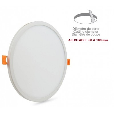 Downlight panel LED Redondo 115mm Blanco 8W, Corte ajustable 50 a 100mm