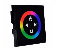 Controlador Táctil para tira LED RGB Negro para empotrar en cajetín universal