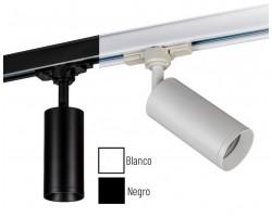 Foco Carril trifasico LED Blanco ó Negro, Lámpara GU10
