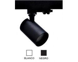Foco Negro ó Blanco, Carril trifasico LED, Lámpara GU10