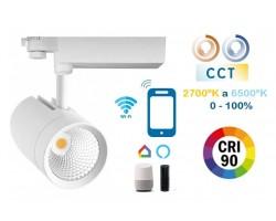 Foco Carril RETAIL Trifásico LED COB Citizen 30W Blanco CRI90 SMART CCT Wifi, para Smartphone y control voz