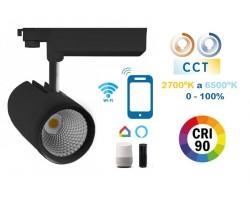 Foco Carril RETAIL Trifásico LED COB Citizen 30W Negro CRI90 SMART CCT Wifi, para Smartphone y control voz