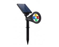 Foco LED Solar exterior jardin con piqueta 2W RGB