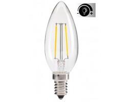 Lámpara LED Vela Clara E14 4W Filamento Regulable